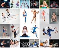 Collage sobre el diferente tipo de deportes fotos de archivo