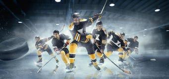 Collage sobre jugadores del hockey sobre hielo en la acción fotos de archivo