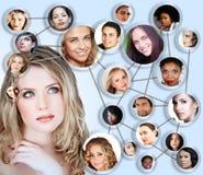 Collage social de concept de medias de réseau Images stock