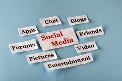 Collage sociale di media Fotografia Stock