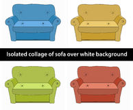 collage of sofa different colours Stock Images