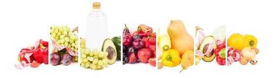 Collage som göras från frukter och grönsaker som isoleras royaltyfri foto