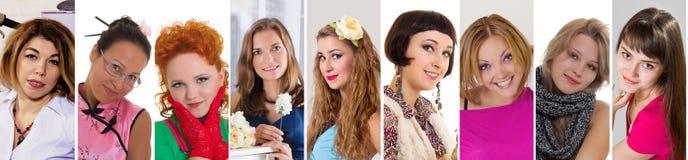 Collage sonriente de la colección de la expresión de la felicidad de las mujeres de la diversidad fotografía de archivo