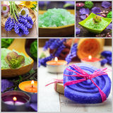 Collage Spa concept herbal soaps scented candles Royalty Free Stock Photo