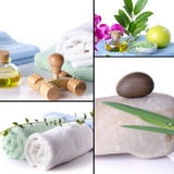 Collage of spa details, oil, flower, towels, stones Royalty Free Stock Photos