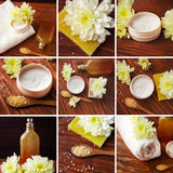 Collage with spa settin. Spa composition. SPA treatment set with natural handmade soap, sea salt beauty cream with flower on wooden table royalty free stock photo