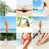 Collage of spa and travel images with young women. On a vacation stock image