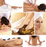 A collage of spa treatment images with a woman Stock Photography