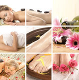 A collage of spa treatment images with young women Stock Photos