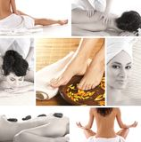 A collage of spa treatment images with young women Stock Images