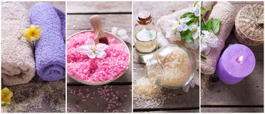 Collage from spa  or wellness photos. Royalty Free Stock Images