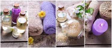 Collage from spa  or wellness photos. Royalty Free Stock Photography