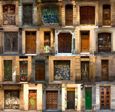 Collage of spanish wooden doors Stock Images