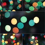 Collage Sparkling Lights Festive background. Abstract Christmas twinkled bright background with bokeh defocused lights Royalty Free Stock Images