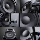 Collage. speaker. Royalty Free Stock Image