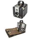 Collage sporco di scatola dell'album di foto d'annata della macchina fotografica isolato Fotografia Stock