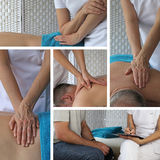 Collage of Sport Massage Therapy techniques Royalty Free Stock Images