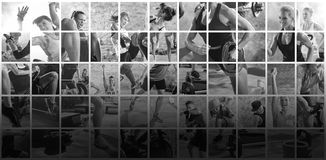 Collage of sport photos with people Stock Image
