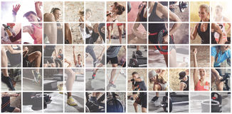 Collage of sport photos with people. As backgorund Royalty Free Stock Photos