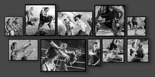 Collage of sport photos with people stock images