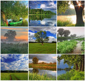 Collage of spring landscapes. Collage spring and summer landscapes Stock Photography