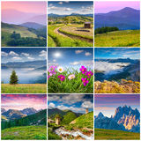 Collage with 9 square summer landscapes. Royalty Free Stock Photography