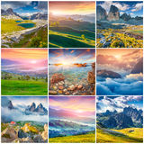 Collage with 9 square summer landscapes. Royalty Free Stock Photo