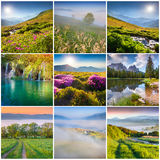 Collage with 9 square summer landscapes. Royalty Free Stock Image