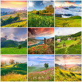 Collage with 9 square summer landscapes. Royalty Free Stock Images