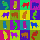 Collage of squares colored cats illustration. Drawing for the de Royalty Free Stock Images