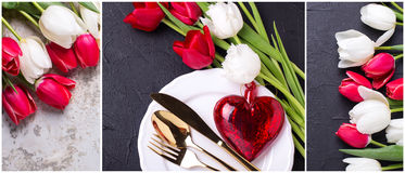 Collage from St. Valentine day photos. Royalty Free Stock Photos