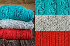 Collage Stack of colorful knitted sweaters and Stock Images