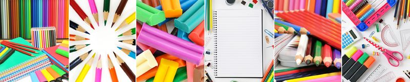 Collage stationery / school supplies separated vertical lines Stock Photos