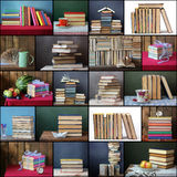Collage from still lifes with books Stock Photos