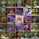Collage from still lifes with bouquets. Flower background. Packi Stock Photography