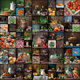 Collage from  still lifes with fruit and vegetables. Stock Photography