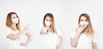 Free Collage Stockfoto. Beautiful Caucasian Young Woman In White T-shirt With Disposable Face Mask. Protection Versus Viruses And Stock Images - 179578524