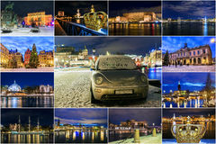 Collage of Stockholm attractions at Night Royalty Free Stock Image