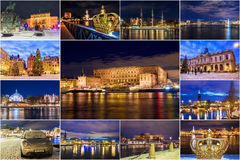Collage of Stockholm attractions at the Night Stock Image