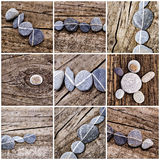 Collage of stones on wood. Collage of stones aligned on wood Stock Photography