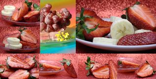Collage with strawberry, banana Stock Photo