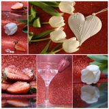 Collage with strawberry and heart Royalty Free Stock Photo