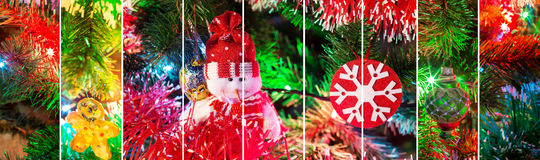 Collage stripes of happy new year with evergreen tree, snowman and snowflake toys and colorful illumination. Collage stripes of happy new year holiday with stock image
