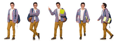 The collage of student with backpack on white Stock Photos