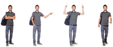 The collage of student with backpack on white Royalty Free Stock Photography