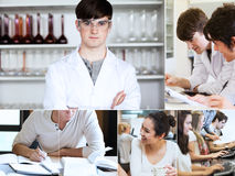 Collage of students during their lectures Stock Photography