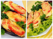 A collage of stuffed eggplant and zucchini Royalty Free Stock Image