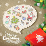Collage style Christmas elements royalty free illustration