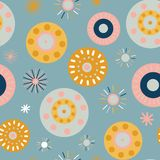 Collage style circles seamless vector background. Modern flat Scandinavian style dots. Abstract round shapes pink, coral, gold, stock illustration