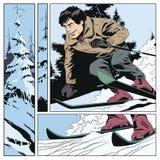 Collage su corsa con gli sci di tema Illustrazione di riserva illustrazione vettoriale